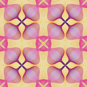 Pink and Yellow Floral Guilloche Pattern