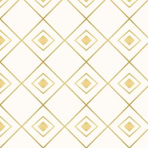 Gold Diamonds on Cream Ivory