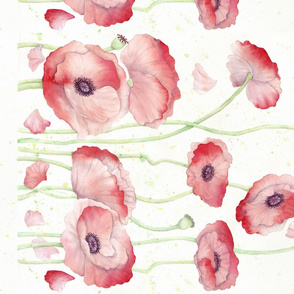 Watercolor Poppy Double Border wide fabric