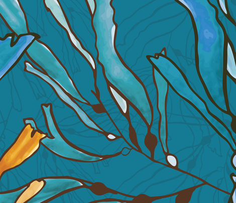Kelp seaweed blue and yellow watercolor fabric by zebra_finch on Spoonflower - custom fabric