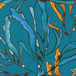 Kelp seaweed blue and yellow watercolor