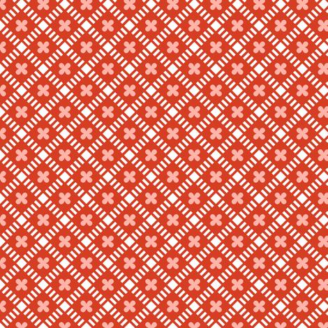 Maysville* (Tomato Soup) || geometric diamonds flowers floral garden lattice vintage farm feedsack feed sack plaid  fabric by pennycandy on Spoonflower - custom fabric