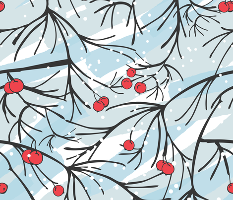 Rowan_berries_and_brunches_winter_time fabric by zebra_finch on Spoonflower - custom fabric