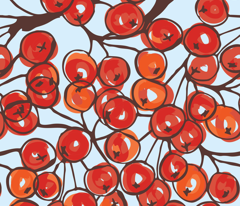 Rowan berries brushed with barker on blue fabric by zebra_finch on Spoonflower - custom fabric