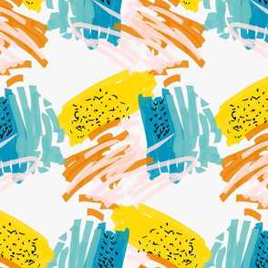 Abstract blue and yellow with pink and black marks