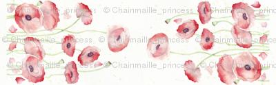 Watercolor Poppy Double Border narrow fabric