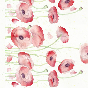 Watercolor Poppy Double Border narrow fabric