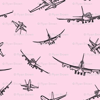 Plane Sketches on Pink // Small