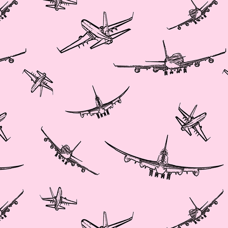 Plane Sketches on Pink // Small fabric by thinlinetextiles on Spoonflower - custom fabric