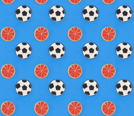 soccer balls and oranges - azure blue background fabric by suz_pozzo on Spoonflower - custom fabric