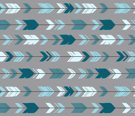 Arrow Feathers- Rotated - Winslow - blue teal gray fabric by sugarpinedesign on Spoonflower - custom fabric