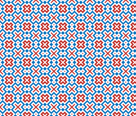 Geometric X design with red, white and blue fabric by bing-bungalow-design-house on Spoonflower - custom fabric