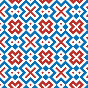 Geometric X design with red, white and blue