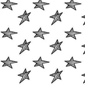 Black Stars with White Background