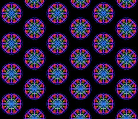 Shimmering Starflower Posies on Deep Black fabric by rhondadesigns on Spoonflower - custom fabric