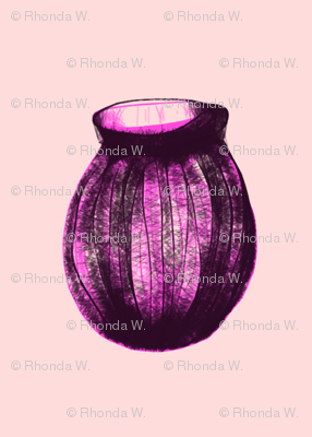 Purple Glass Vases Waiting for Flowers on a Whisper of Pink