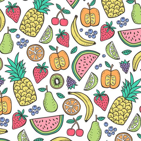 Summer Fruit Pineapple,strawberry,watermelon fabric by caja_design on Spoonflower - custom fabric