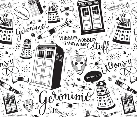 The Doctor: Full-Size Black fabric by cherilyncolbert on Spoonflower - custom fabric