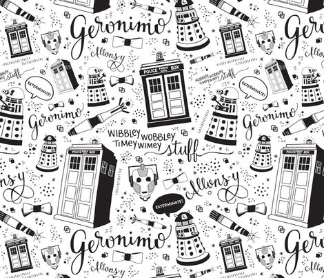 The Doctor: Smallscale Black fabric by cherilyncolbert on Spoonflower - custom fabric