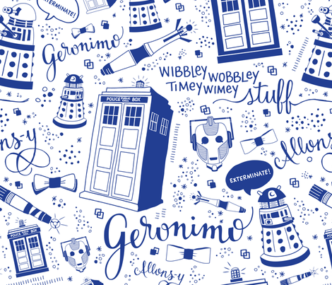 The Doctor: Full-Size Blue fabric by cherilyncolbert on Spoonflower - custom fabric