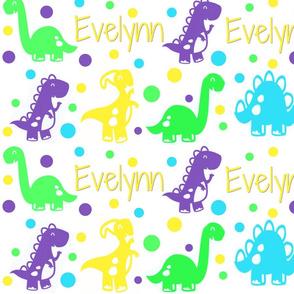Custom Dinosaur Name Fabric with Evelynn