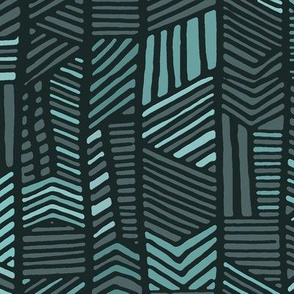 Boho abstract tribal print - teal, baby blue