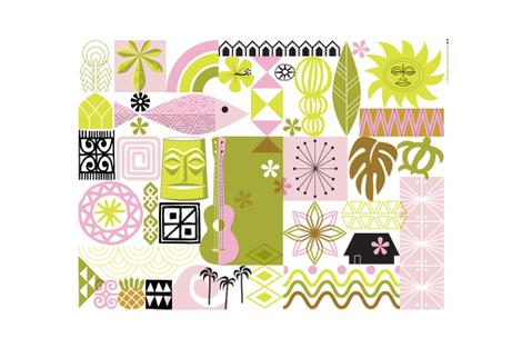 na paila Tea Towel* (Pink and Chartreuse) || Hawaii Hawaiian sun beach tropical palm trees atomic midcentury modern leaves flowers ukulele fish honu sea turtle rainbow tiki tribal waves ocean fabric by pennycandy on Spoonflower - custom fabric