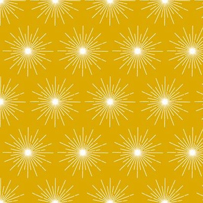 Pulsar* (Gold Marilyn) || galaxy outer space stars starburst cosmic atomic midcentury modern sun sunshine summer mustard
