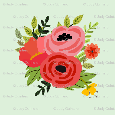 Mod Red Flowers Bouquet Mini