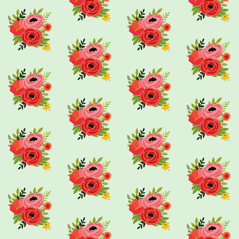 Mod Red Flowers Bouquet Mini fabric by shopcabin on Spoonflower - custom fabric