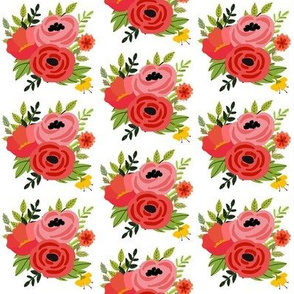 Mod Red Flowers Bouquet - White