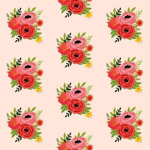 Mod Red Flowers Bouquet Mini - Pink