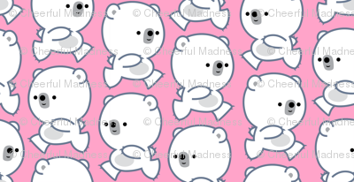 Running Little Polar Bears Pink by Cheerful Madness!!