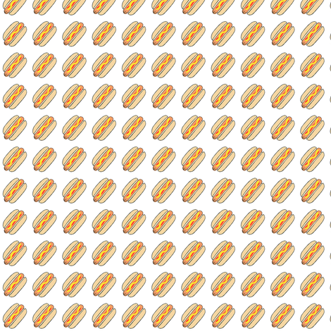 """Hot dogs on white- 1/2"""" scale fabric by tarareed on Spoonflower - custom fabric"""
