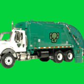 Tossed Garbage Trucks on Green