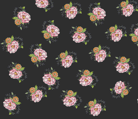 Peonies on black fabric by jennifer_rizzo on Spoonflower - custom fabric