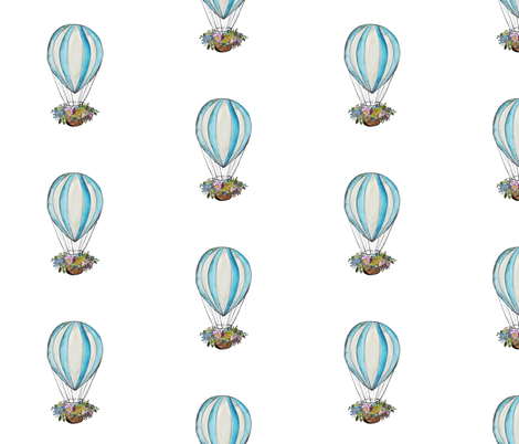 Hot_air_balloon_with_flower_basket fabric by jennifer_rizzo on Spoonflower - custom fabric