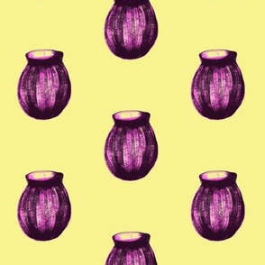Purple Glass Vases Waiting for Flower, on Buttery Yellow - Medium Scale