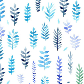 Blue watercolour leaves