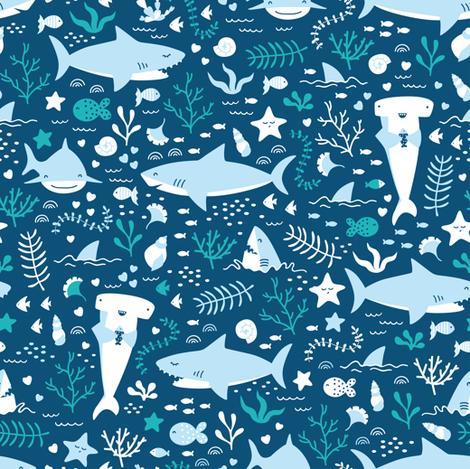 Happy Sharks fabric by innamoreva on Spoonflower - custom fabric