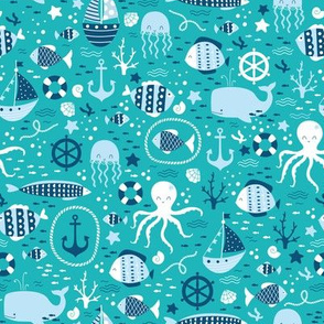 Sea Life Fabric Wallpaper Gift Wrap