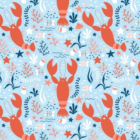 Cheerfull Lobsters fabric by innamoreva on Spoonflower - custom fabric