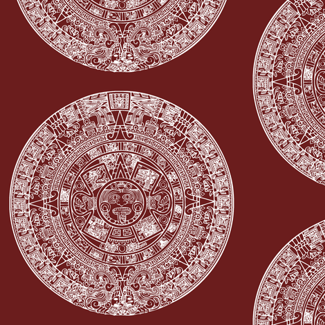 """Aztec Calendar on Maroon - Large (6"""") fabric by thinlinetextiles on Spoonflower - custom fabric"""