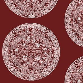 "Aztec Calendar on Maroon - Large (6"")"