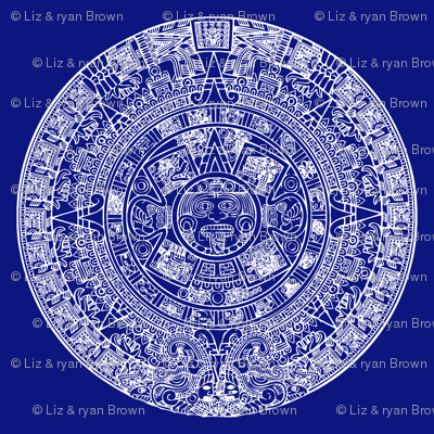 "Aztec Calendar on Blue - Large (6"")"