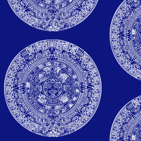 """Aztec Calendar on Blue - Large (6"""") fabric by thinlinetextiles on Spoonflower - custom fabric"""