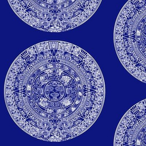 "Aztec Calendar on Blue - Large (6"")"