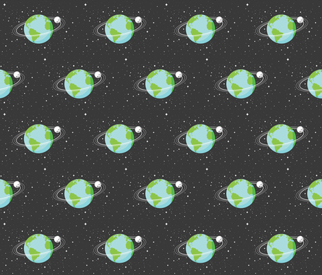 Earth and moon fabric by cloudsfactory on Spoonflower - custom fabric