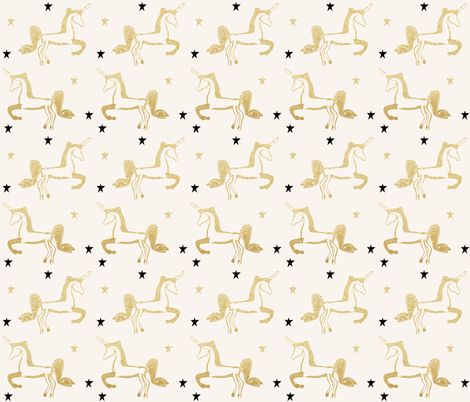 unicorns gold glitter black stars shiny gold on ivory fabric by jenlats on Spoonflower - custom fabric