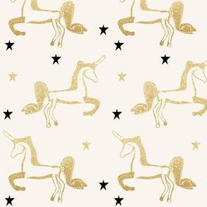 unicorns gold glitter black stars shiny gold on ivory